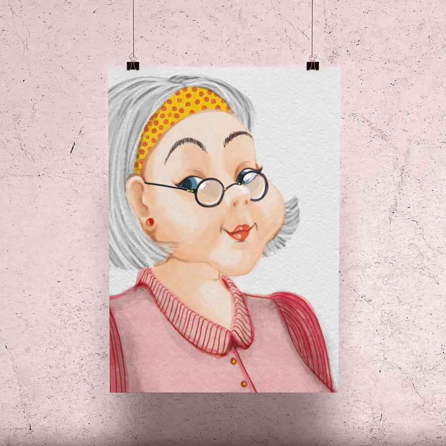 Georgette portrait gouache aquarelle tablette graphique illustrations
